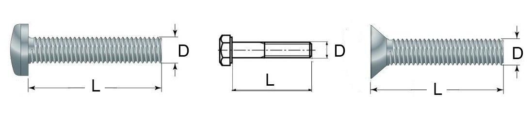 Definition of bolt or set-screw lengths