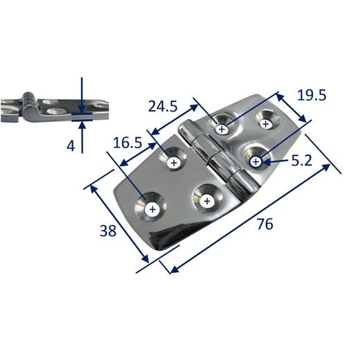 Stainless Steel A4 (316) Door Hinge, Marine & Sailing, Door, Locker, Cabinet 76X38mm image #