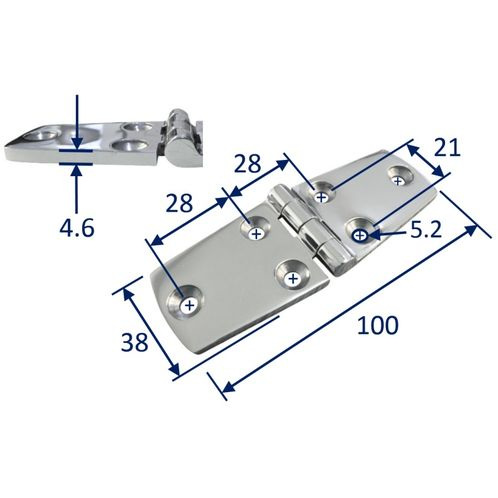 Stainless Steel A4 (316) Door Hinge, Marine & Sailing, Door, Locker, Cabinet 100x38mm image #