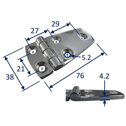 Stainless Steel A4 (316) Door Hinge, Marine & Sailing, Door, Locker, Cabinet 76x38mm image #