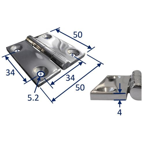Stainless Steel A4 (316) Butt Hinge, Marine & Sailing, Door, Locker, Cabinet 50x50mm image #