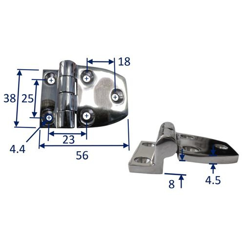 Stainless Steel A4 (316) Offset Hinge, Marine & Sailing, Door, Locker, Cabinet 56x38mm image #