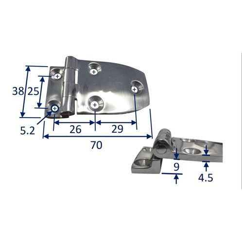 Stainless Steel A4 (316) Offset Hinge, Marine & Sailing, Door, Locker, Cabinet 70x38mm image #