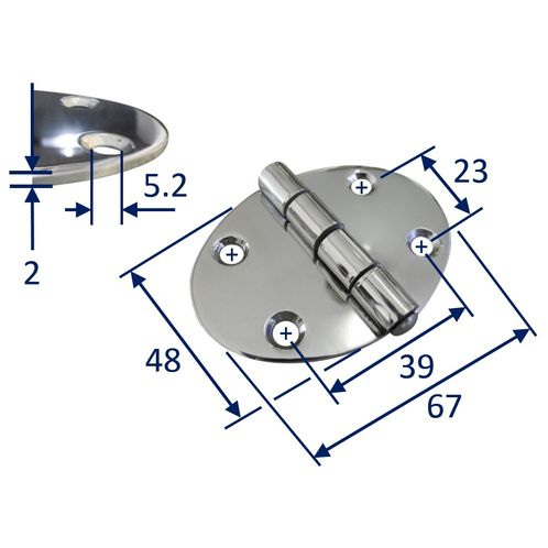 Stainless Steel A2 Oval Hinge, 67x48mm, Marine & Sailing, Door, Locker, Cabinet image #