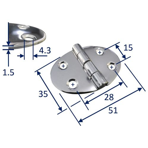 Stainless Steel A2 Oval Hinge, 51x35mm, Marine & Sailing, Door, Locker, Cabinet image #