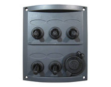 5-Gang Electrical Marine Switch Panel With 12V Cigarette Lighter Socket