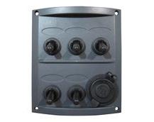 5-Gang Electrical Marine Switch Panel With 12V Cigarette Lighter Socket