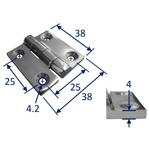 Stainless Steel A4 (316) Butt Hinge, Marine & Sailing, Door, Locker, Cabinet 38x38mm image #