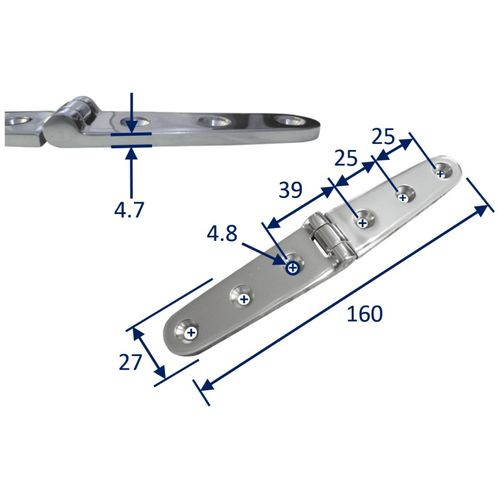 Stainless Steel A4 (316) Strap Hinge, Marine & Sailing, Door, Locker, Cabinet 160x27mm image #
