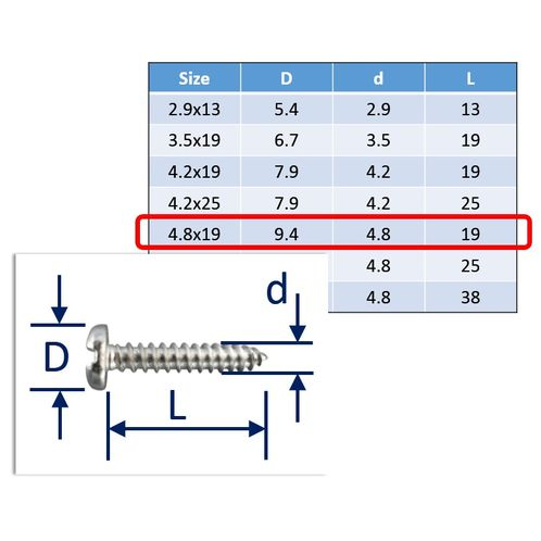 Self-Tapping Screws Slot-Pan 316 (A4) Stainless image #5