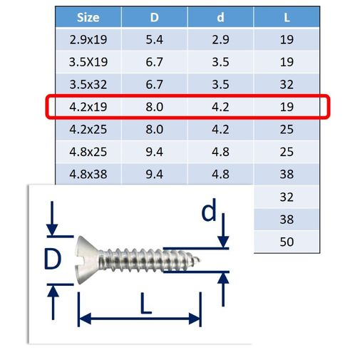 Self-Tapping Screws Slot-Countersunk (csk) 316 (A4) Stainless image #3