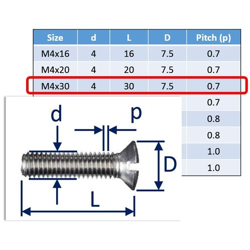 Raised Slot Countersunk Set Screws, Stainless Steel (316) A4-Marine Grade image #3