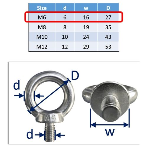 Lifting Eye Bolts Stainless Steel A4 Marine-Grade (316) image #1