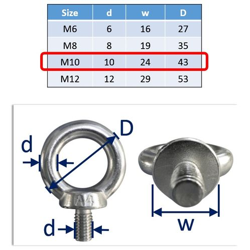 Lifting Eye Bolts Stainless Steel A4 Marine-Grade (316) image #3