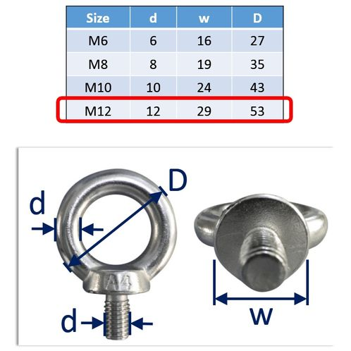 Lifting Eye Bolts Stainless Steel A4 Marine-Grade (316) image #4
