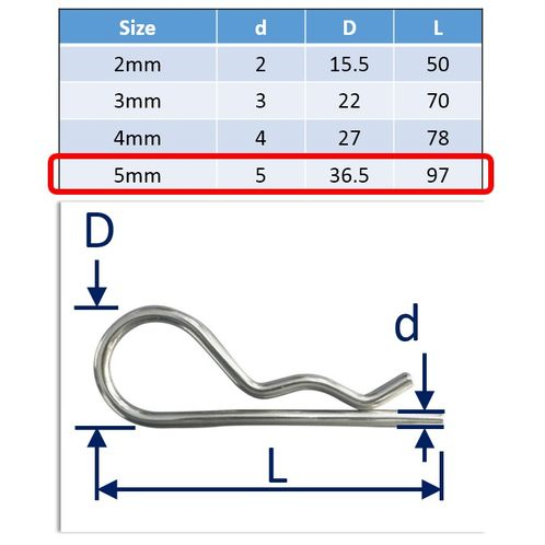 316 Stainless Steel R-Clips (Spring Cotter Pins), Metric Sizes Marine Grade, Quick Removal image #4