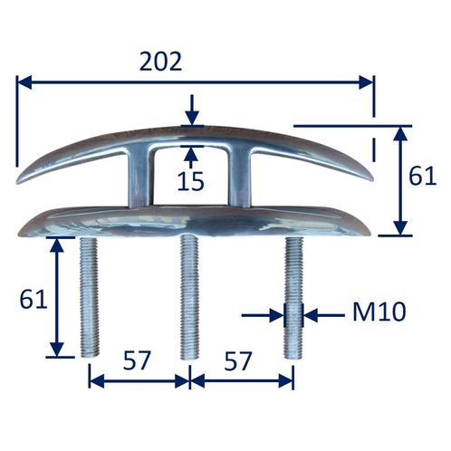Folding Boat Deck Cleat, Stainless Steel image #2