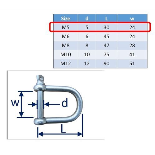 Wide D-Shackle In 316 Stainless Steel, Mooring Buoys image #1