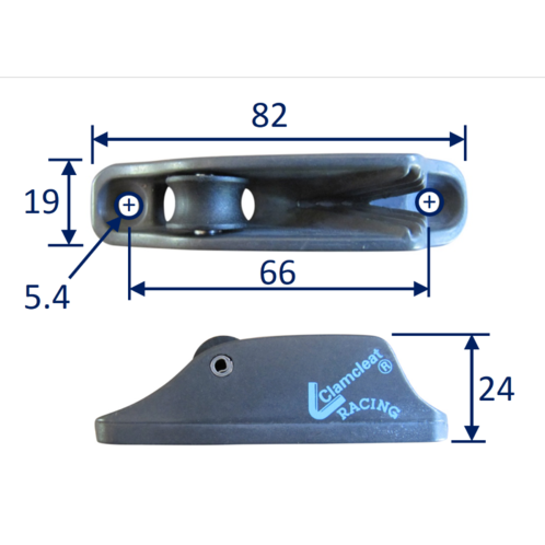 Roller Jam Cleat For Line Size 3mm to 6mm. Clamcleat (CL236AN) image #