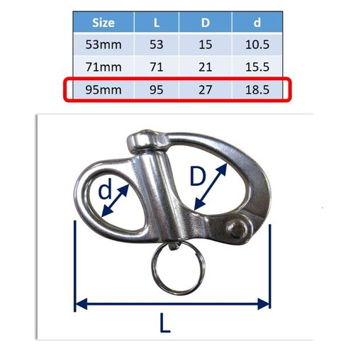 Stainless Steel Snap Shackle, Sailing Sheet Attach, 316 Marine Grade image #3