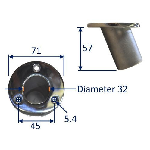 Stainless Steel Flag-Pole Mounting Holder, Recessed Into Deck image #