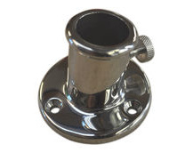 Flag pole holder, stainless steel deck bracket for flag-pole mounting