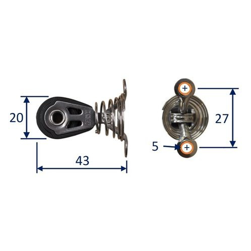 Dynamic 20mm Pulley Block, single on sprung saddle.  Line size 2.5 to 6mm image #