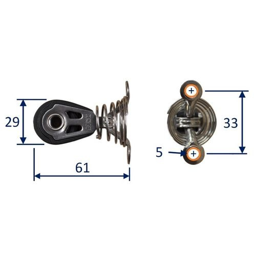 Dynamic 30mm Pulley Block, single on sprung saddle.  Line size 5 to 8mm image #