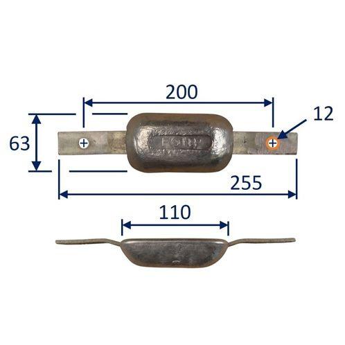 Flat Bolt-On Zinc Sacrificial Anode 1kg image #