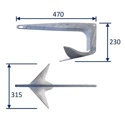 Boat Anchor, Bruce-Type Anchor, Galvanised image #1