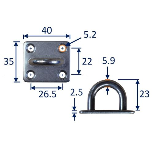 Square Pad Eye Mounting Hoop, A2 Stainless Steel Mounting Pad image #2