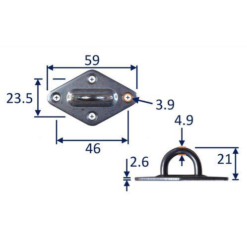 Diamond Pad Eye Mounting Hoop, A2 Stainless Steel Mounting Pad image #1