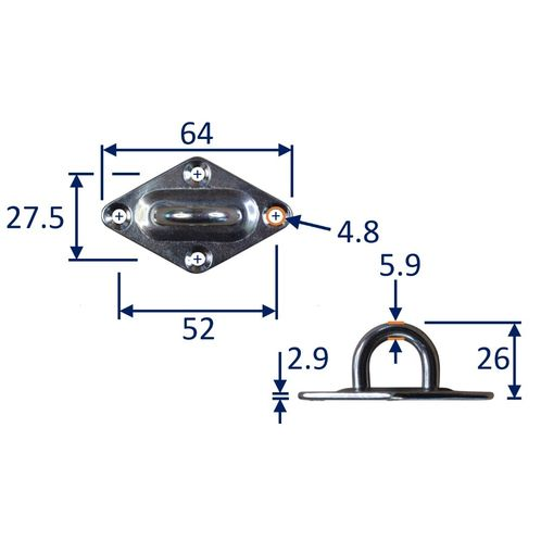 Diamond Pad Eye Mounting Hoop, A2 Stainless Steel Mounting Pad image #2