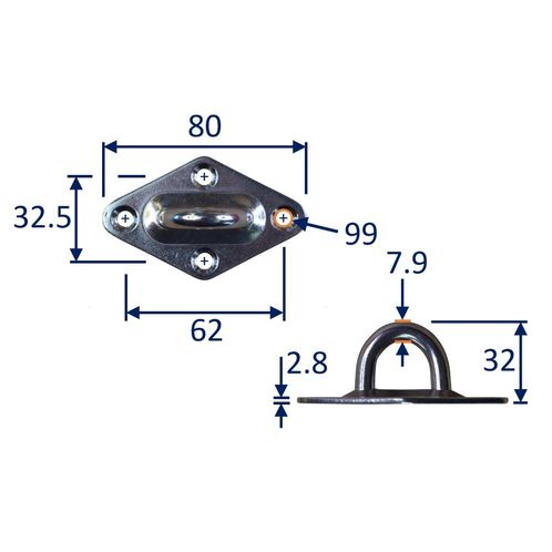 Diamond Pad Eye Mounting Hoop, A2 Stainless Steel Mounting Pad image #3