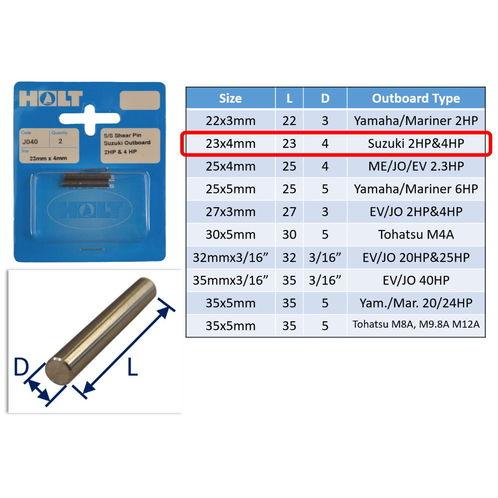 Outboard Shear Pin / Propellor Shear Pins / Outboard Motor Shear Pin (2 pack) image #2