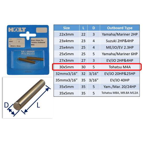 Outboard Shear Pin / Propellor Shear Pins / Outboard Motor Shear Pin (2 pack) image #6