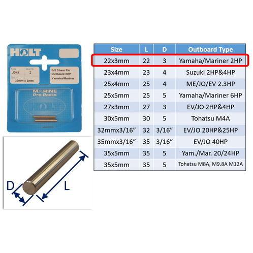 Outboard Shear Pin / Propellor Shear Pins / Outboard Motor Shear Pin (2 pack) image #1