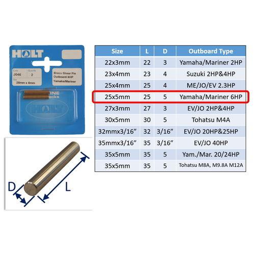 Outboard Shear Pin / Propellor Shear Pins / Outboard Motor Shear Pin (2 pack) image #4
