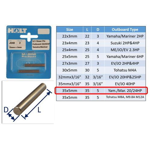 Outboard Shear Pin / Propellor Shear Pins / Outboard Motor Shear Pin (2 pack) image #9