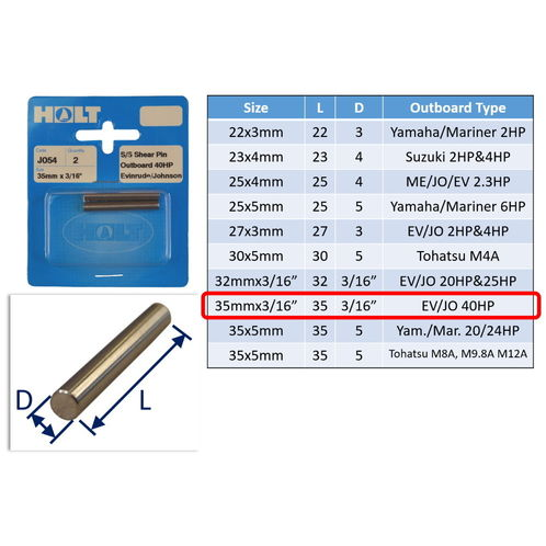Outboard Shear Pin / Propellor Shear Pins / Outboard Motor Shear Pin (2 pack) image #8