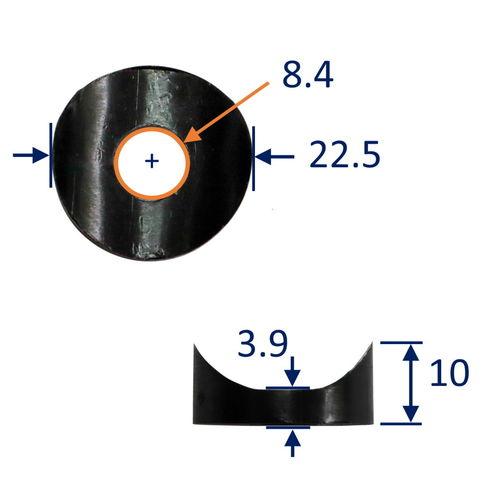 Nylon Saddle Washer To Fit Against 22mm Diameter Tubing, 8mm Hole image #1