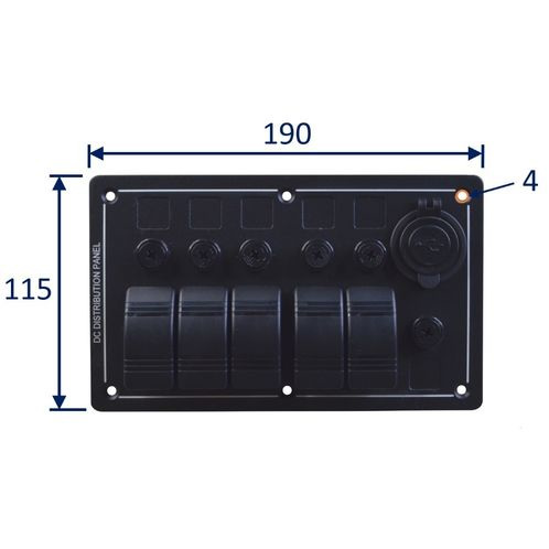 Marine switch panel with twin USB port