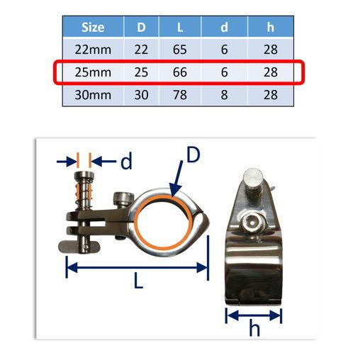 Hood Frame / Bimini Mounting Bracket Incorporating Quick-Release Pin image #2