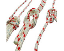 polyester braided rope, red fleck
