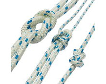 polyester braided rope, blue fleck