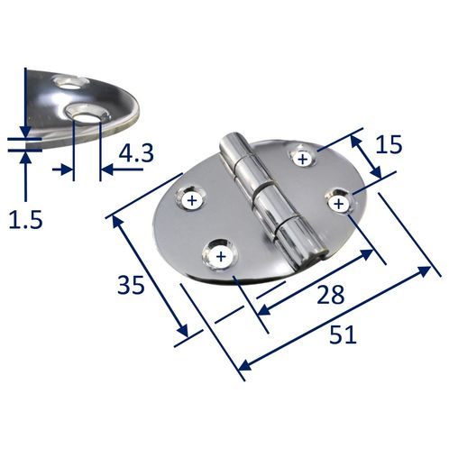 product image for Stainless Steel A2 Oval Hinge, 51x35mm, Marine & Sailing, Door, Locker, Cabinet