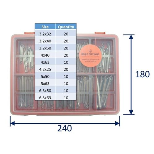 product image for Kit Box Of 316 Stainless Steel Split Pins: Larger Sizes