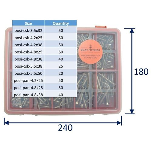 product image for Kit Box Of 316 Stainless Posi-Drive Self Tapping Screws: Larger Sizes