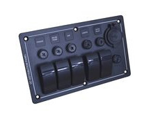Marine Switch Panel, 5-Gang With Twin USB Port